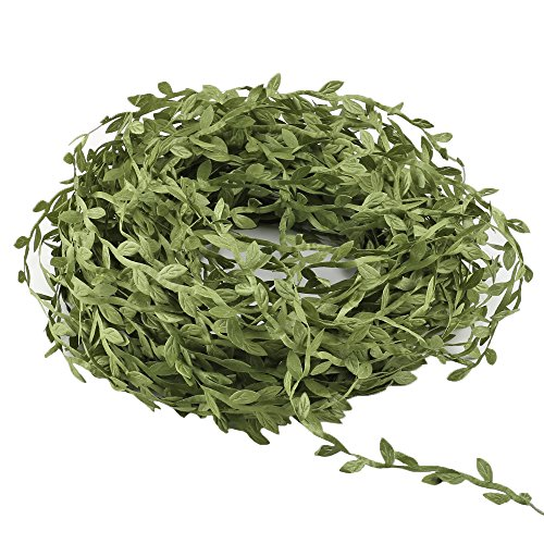 HOGADO Artificial Vines, 132 Ft Fake Hanging Plants Silk Ivy Garlands Simulation Foliage Rattan Green Leaves Ribbon Wreath Accessory Wedding Wall Crafts Party Decor (Foliage Fairy Green)
