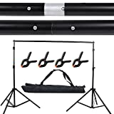 Hakutatz Photo Video Studio 10Ft/2x3M Adjustable Background Stand Backdrop Support System Kit with Carrying Bag and 4 Background Clamps Photo Photography Video Studio Backdrop Crossbar Kit