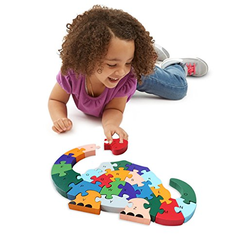 Wooden Blocks Jigsaw Puzzles丨SAFE, ECO-FRIENDLY, TWO SIDES - English Letter & Numbers Puzzles丨Good Preschool Educational Toys For Toddlers Kids Boys Girls,Christmas Gift Toys - M&H (Dinosaur) - Baby Animals Block Puzzle
