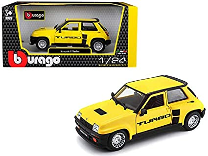 Bburago Renault 5 Turbo Yellow with Black Accents 1/24 Diecast Model Car 21088y