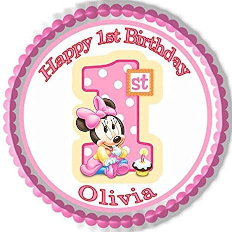 Amazoncom BABY MINNIE MOUSE 1st Birthday B Edible Cake Topper