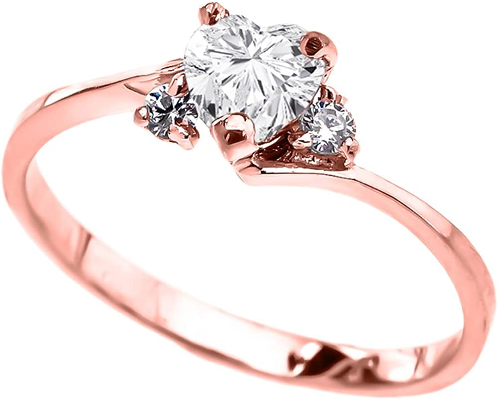 Dainty 10k Rose Gold April Birthstone Heart with CZ Proposal/Promise Ring