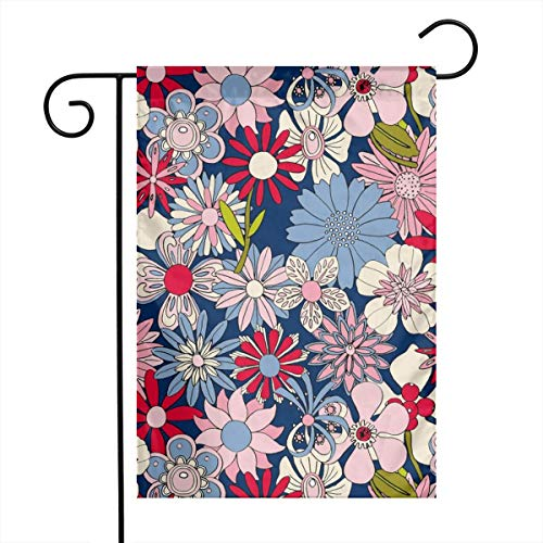 fudin Garden Flag 12 X 18 Inches Chelsea Vintage 60s 70s Enamel Pin Brooch Flower Floral Garden Pastel Sheet Spring Summer Bouquet,Double-Sided Yard Flag, Polyester House Banner for Home Decor