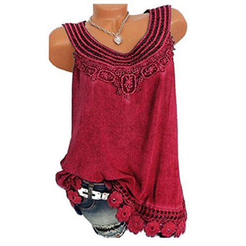 2018 Women O-Neck Sleeveless Pure Color Lace Plus Size Vest Tops Loose T-Shirt Blouse by - NEWONESUN (X-Large, Red)