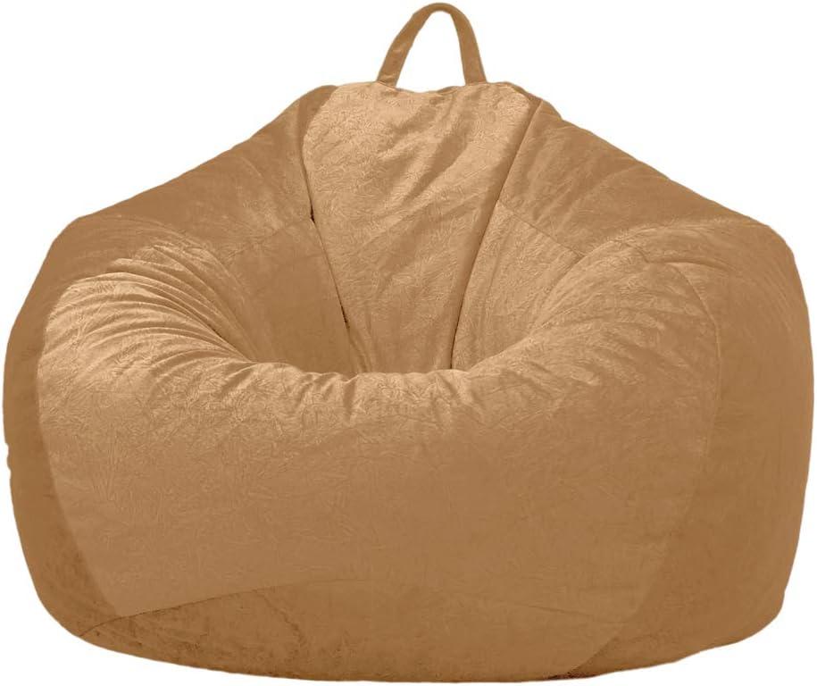 PETSOLA Kids Kuscheltiere Aufbewahrung Wildleder Sitzsack Cover 60x70cm Mandelfarbe