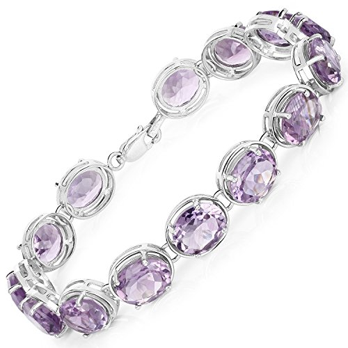 925 Sterling Silver Bracelet Genuine Amethyst 30.10 Ct Gemstone 7.25 inches by Universal Jewels (Image #1)