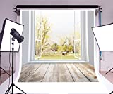 Laeacco 8x8ft Vinyl Photography Backdrop Autumn 3D Old Trees Golden Leaves Vintage House Grass Field White Window Stripes Wood Plank Interior Nature Photo Background Children Baby Adults Portraits