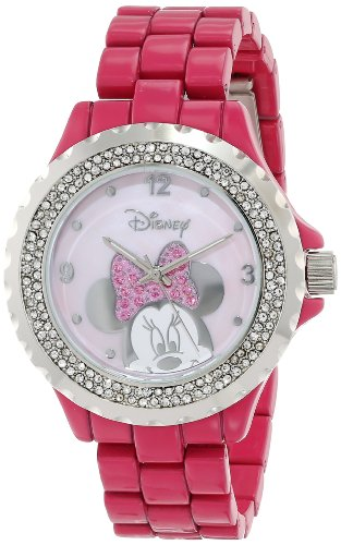 Disney Women's 56270-1C Minnie Mouse Pink Enamel Sparkle Watch