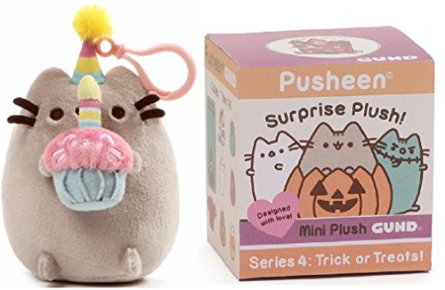GUND Pusheen Halloween Blind Box Series 4 Bundle with Pusheen Birthday Backpack Clip -