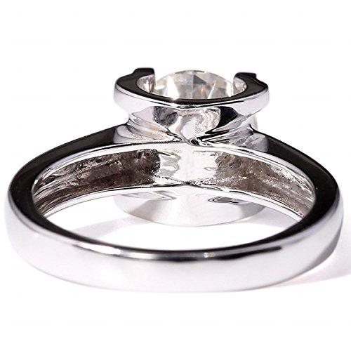 Gowe 14K 585Or blanc 2carats CT pas moins GH Couleur Lab Cultivées Charles De fiançailles bague Diamant Test Positive Diamant