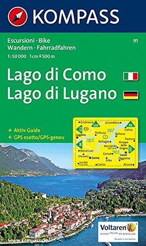 Carte touristique : Lago di Como, Lago di Lugano (Allemand) Carte – Carte pliée, 11 avril 2001 Cartes Kompass 3854910983 Karten / Stadtpläne / Europa physisch