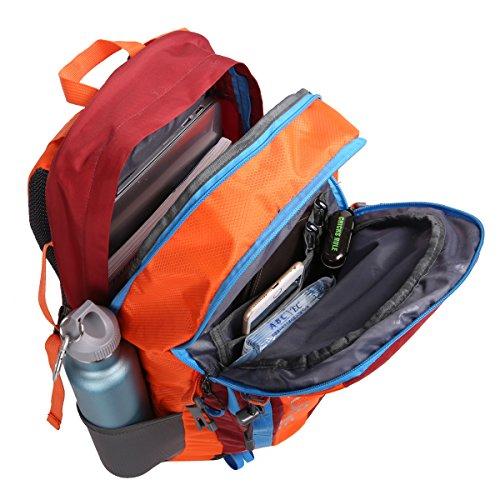 HWJIANFENG 30L Mochilas de Senderismo para Montaña de Acampadas de Ordenador al Aire Libre de Nylon de Diaria Mochilas de Excursion para Viajes Unisex de Ciclismo Color Azul Naranja