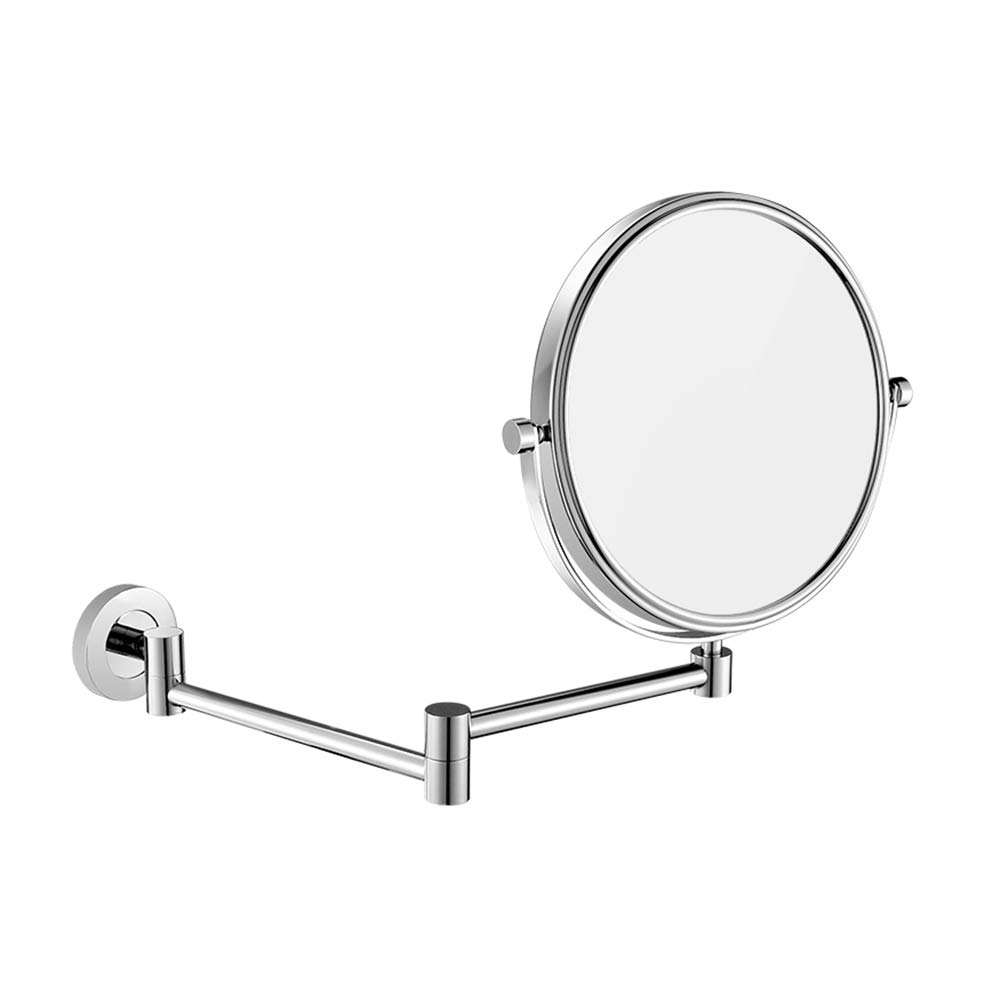 Bathroom Wall-mounted HD Makeup Mirror Toilet Wall Hanging Foldable Telescopic Double-sided Magnifying Beauty Vanity Mirror (Color : Stainless steel)