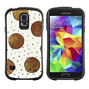 Paccase / Suave TPU GEL Caso Carcasa de Protección Funda para - Brown Black Polka Dot Pattern Beige - Samsung Galaxy S5 SM-G900