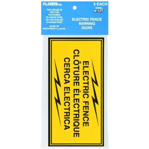 Fi-Shock A-12T 3-Pack Electric Fence Warning Signs