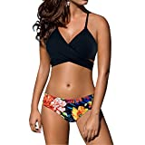 Women sexy Low waist Bandage Bikini beachwear swimsuit Black-S,Flower Print Black,Small