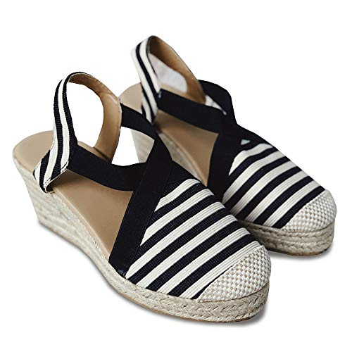 Womens Closed Toe Espadrilles Low Wedges Heel Shoes Elastic Ankle Strap Sandals