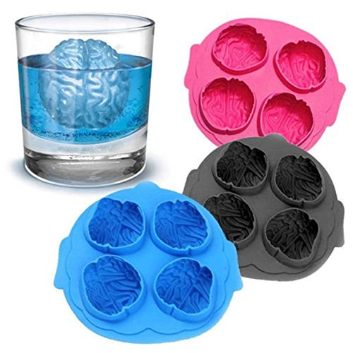 SuperStores Brain Shape Silicone Ice Cube Ice Maker Mold Bar Party Drink Mold Soap Candle Making Fondant Tool Chocolate Ice Cube Tray (Sent by (Homemade Ice Cream Cone Costume)