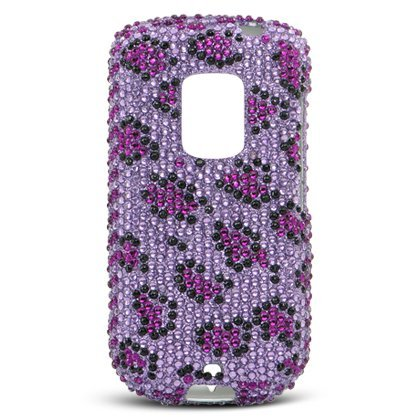 Sparkling Purple with Black Leopard Animal Print Full Diamond Rhinestone Snap on Hard Skin Faceplate Cover Case for Htc (Leopard Faceplate)