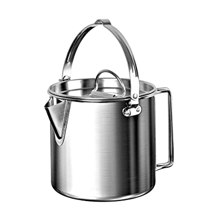 303c42d25c3 Amazon.com  Chihee Camping Kettle Stainless Steel Outdoor Cooking Kettle  1.2L Lightweight Compact Camping Pot Teakettle Hiking Backpacking Picnic   Home   ...