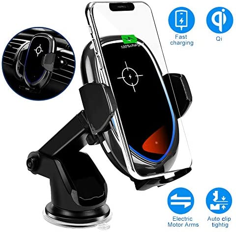 Auto-Clamping Wireless Car Charger Mount, FORCONP 10W 7.5W Qi Fast Charging Car Mount, Windshield Dashboard Air Vent Phone Holder Compatible with iPhone Xs MAX XS XR X 8, Samsung S10 S10 S9 Black
