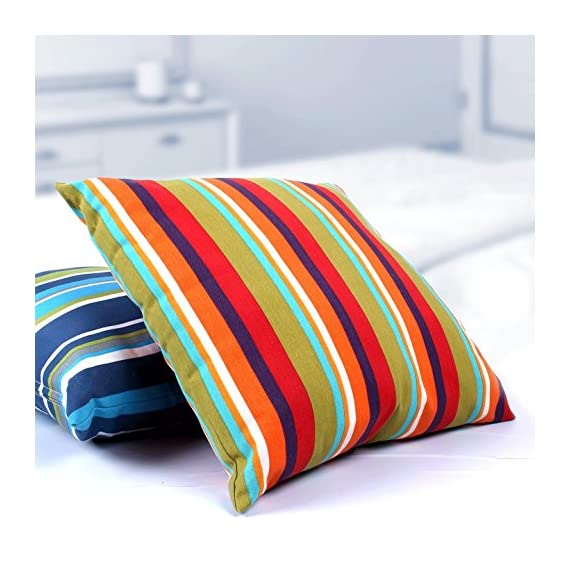 Utopia Bedding Decorative Square 18 x 18 Inch Throw Pillow (Indoor/Outdoor) - Blue, Green & White Stripe Cushion (Multi-Color Stripe) - Package includes 18 by 18 inches pillow with a multi color stripe pillow cover Moroccan-inspired pattern, with a sophisticated color palette, brings style to your outdoor setting Spun polyester exterior fabric and 100 percent polyester interior fiberfill dries easily; comes with a regular zipper, without piping - living-room-soft-furnishings, living-room, decorative-pillows - 51YRWID5FjL. SS570  -