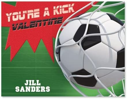 24 Personalized Scratch Off Valentine/'s Day Cards Valentines Blue Soccer