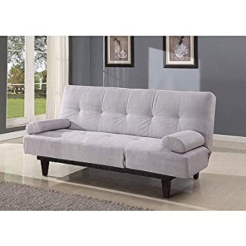 Medium image of barcelona convertible futon sofa bed and lounger with pillows silver grey