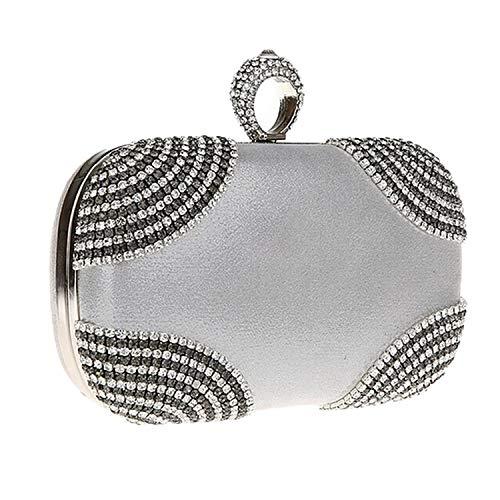 - Ashley-OU Diamond Evening Bag Round Ball Gold Clutch Purse Handbag Chain Messenger Cross Bags,Silver,CN
