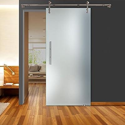 Correderas de cristal de puerta de zona llena mate QSS011 - V1000 - GS 900 x 2050 mm DIN derecha de seguridad de 8 mm con barra de acero inoxidable: Amazon.es: Bricolaje y herramientas