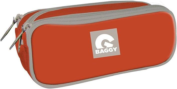 Baggy Estuche portatodo con Triple Bolsillo Cremallera Color Naranja: Amazon.es: Juguetes y juegos