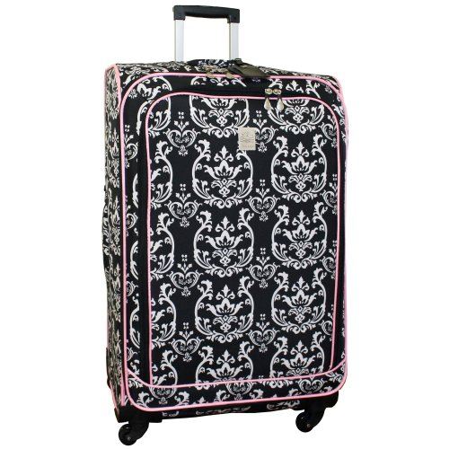 jenni-chan-damask-360-quattro-28-inch-upright-spinner-luggage-black-pink-one-size