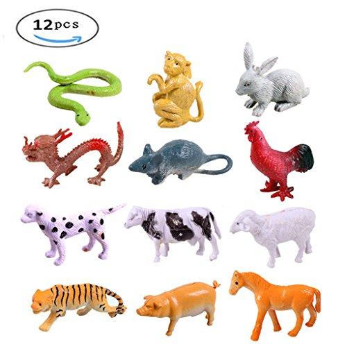 GREATLOVE Zodiac Animal Modeling Toys-Snake, Monkey, Rabbit, Dragon, Rat, Chicken, Dog, Cow, Sheep, Tiger, Pig, Horse-12PCS