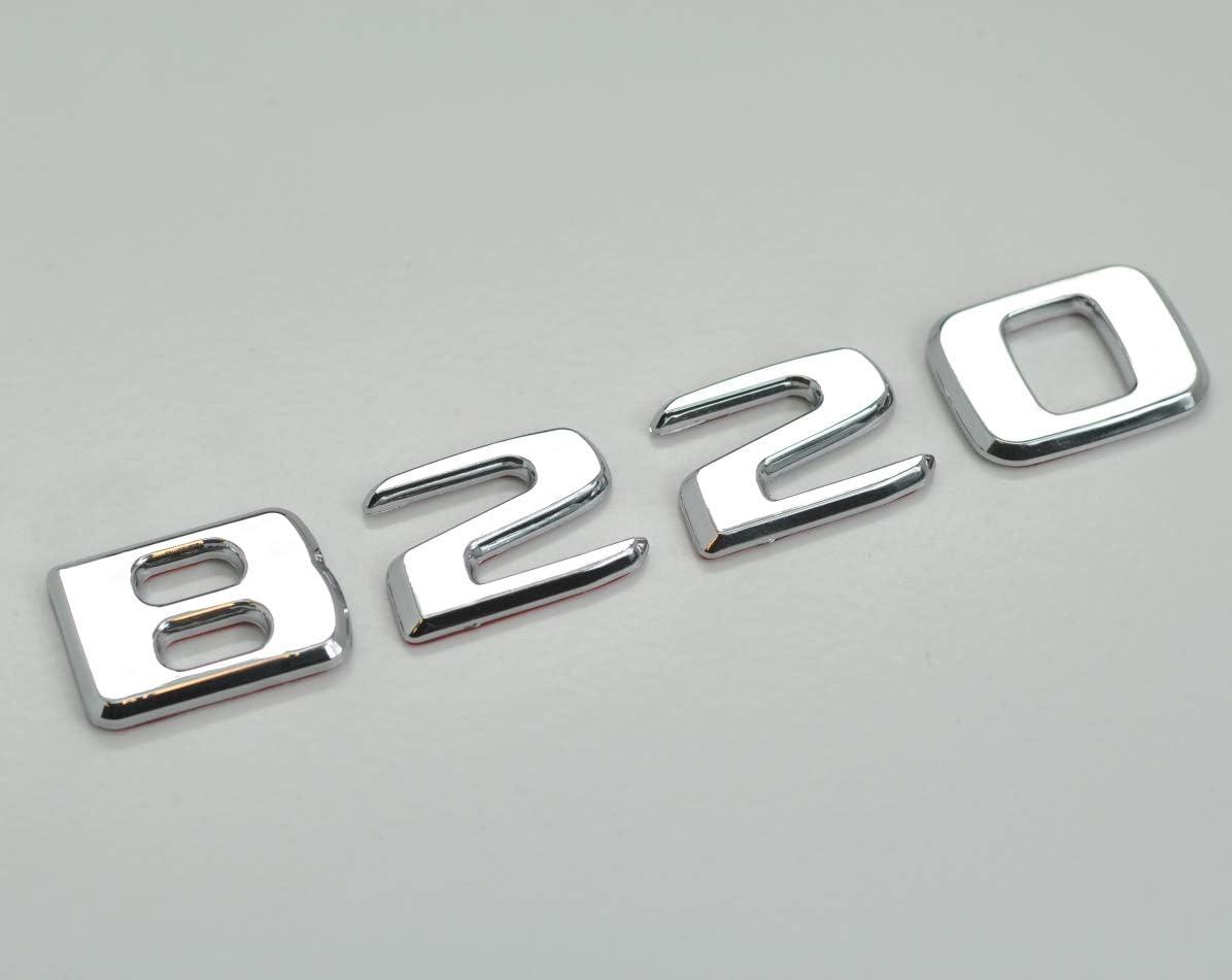 Chrome argent/é B220 Embl/ème dinsigne de lettres de chiffres de mod/èle de voiture de benz plat pour B Class Benz W245 W246 W247 AMG