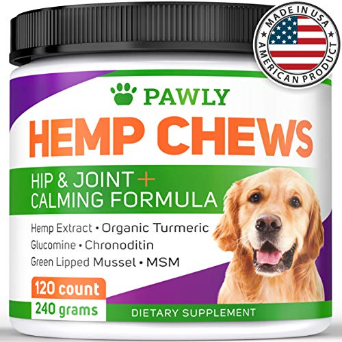 Hemp Chews for Dogs - Made in USA - 120 count - Natural Calming Treats -Hip & Joint Health - Dog Supplement for Stress & Anxiety