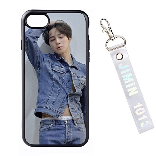 Uv Sensitive Case Fan - PINGJING KPOP BTS Bangtan Boys JIMIN All-inclusive iPhone Case with Transparent Laser Pendant, Glass Back Cover with Silicone for Edge (JIMIN 2, iPhone6 Plus/6S Plus)