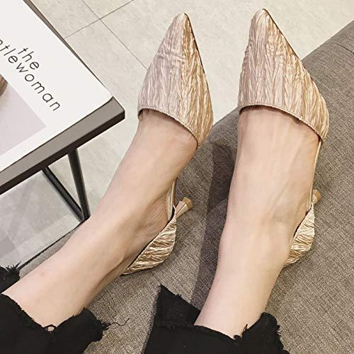 Yukun zapatos de tacón alto Plataforma Impermeable A Prueba De Agua De Primavera Y Otoño Zapatos Super Alta Zapatos De Tacón De Aguja Salvaje De Piel Poco Profunda, 36, Negro Creamy-White