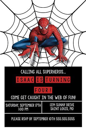 Birthday Invitations - Super Hero Party - Spiderman - Custom Birthday Invitations