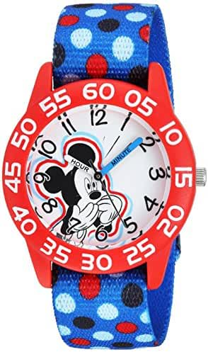 Disney Boy's 'Mickey Mouse' Quartz Plastic and Nylon Casual Watch, Color:Blue (Model: WDS000112)