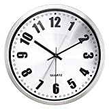 HIPPIH 12'' Non-ticking Silent Wall Clock- Metal Frame Glass Cover