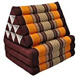 Thai Handmade Foldout Triangle Thai Cushion, 67x21x3 inches, Kapok Fabric, Brown Orange, Premium Double Stitched