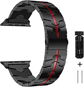 AWMES Compatible for Apple Watch Band 42mm 44mm, Stainless Steel Metal for Enamel Process Apple Watch Series 6 5 4 3 2 1 Bands (Black+Red)