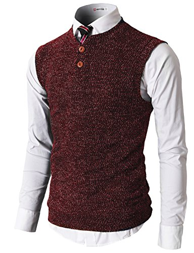 H2H Casual Fabric V Neck Henley
