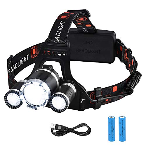 VicTsing Linterna Frontal Recargable LED Alta Potencia 6000 Lúmenes, Linterna Cabeza con 4 Modos, Automomía hasta 8H…