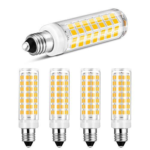 E11 LED Bulb Dimmable Warm White 3000K Light Bulbs 6W 50W 60W Halogen Lamp Equivalent Mini Candelabra Base AC120V Omni-Directional 360 Degree Illumination for Ceiling Fan Lighting Yuiip(Pack of 4)