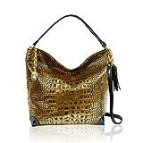 Marino Orlandi Italian Designer Antique Bronze Croc Leather Oversized Crossbody Bag