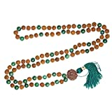 Yoga Jewelry Green Jade Yoga Mala beads Rudraksha Buddhist Necklace Knotted 108