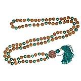 Yoga Jewelry Green Jade Yoga Mala beads Rudraksha Buddhist Necklace Knotted 108