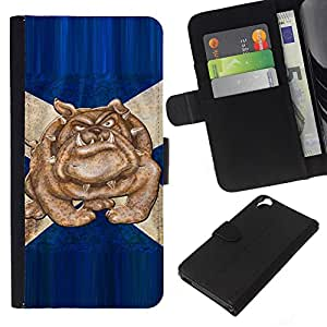 KingStore / Leather Etui en cuir / HTC Desire 820 / British Bulldog Bandera Azul Inglaterra Símbolo