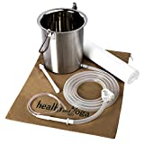 Super Quality Surgical Steel Grade Enema Bucket Kit with Platinum Cured Silicone Tubing | 2 Quart capacity with Shower suspension | BPA, Phthalate free components & Enema Sheet (Only Kit)